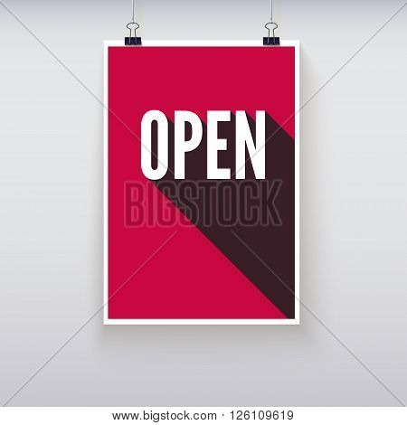 Open shopping door signs board. Vector illustration. Shopping sign board. Red open hanging poster