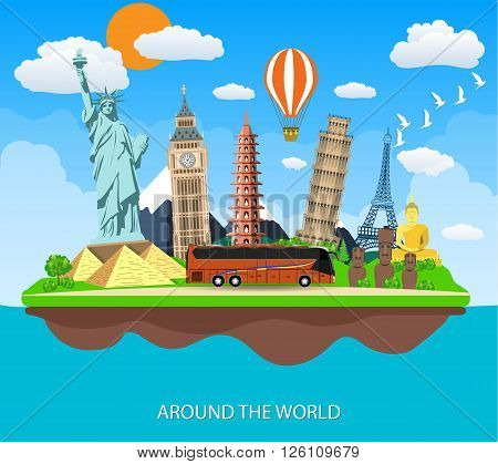Trip to World. Travel to World. Vacation. Road trip. Tourism. Travel banner. Travelling vector illustration. Landmarks on the flying island. Concept website template.