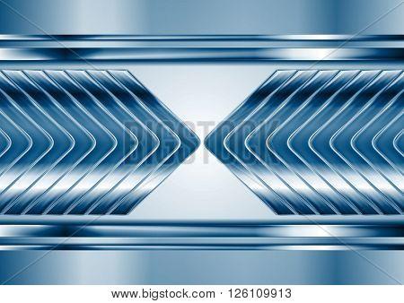 Abstract blue metal tech arrows background. Vector chrome technology design