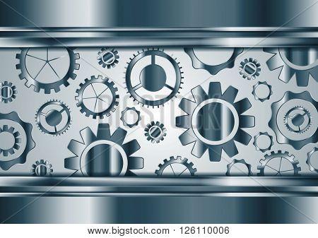 Blue chrome tech gears mechanism background. Vector technology metallic design