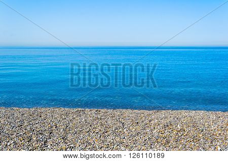 Beautiful Black sea and pebbles at the beach cost
