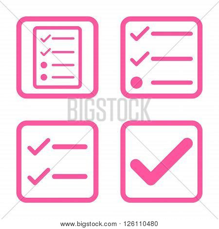 Valid vector icon. Image style is a flat icon symbol inside a square rounded frame, pink color, white background.