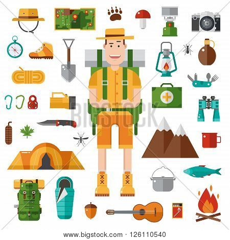 Backpacker icons set. Camping kit of hike outdoor elements in flat style. Hiking gear collection and happy camper guy with tourist backpack. Vector travel hiker character isolated on white background.