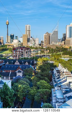 Sydney Australia - November 7 2014: The view of Sydney City Skyline clear sunny morning. Rockwall Crescent Potts Point in the foreground.