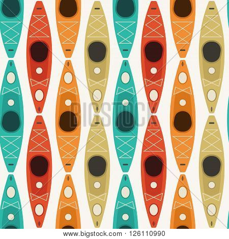 Rafting seamless pattern with repeating boats. Kayaking and canoeing tiling vector background.