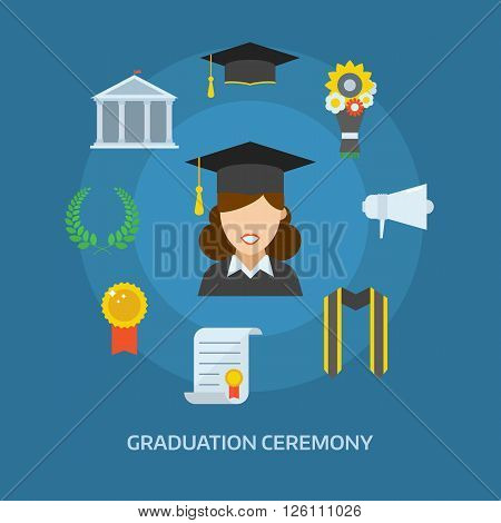 Graduation day concept with celebration cartoon elements. Happy student girl with icons of school wreath insignia flowers ribbon graduational cap diploma megaphone and bell. Graduate woman smiling flat.
