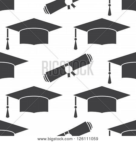 Graduation cap and diploma scroll seamless background. Higher education celebration anniversary symbol pattern. Black and white texture backdrop. Vector outline illustration