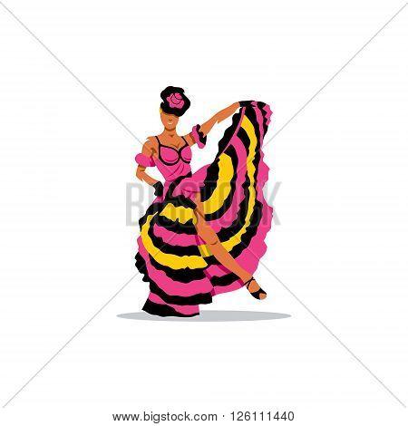 French woman dancer in a splendid dress.