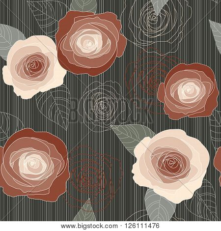 Seamless vector vintage pale withered roses pattern on dark green background