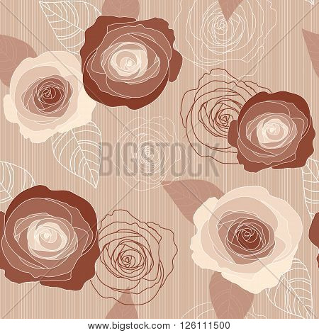 Seamless vector vintage pale withered roses pattern on pink background