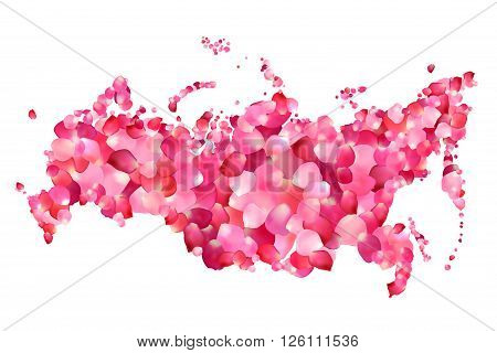 Russia. Vector silhouette of Russian federation map of rose petals