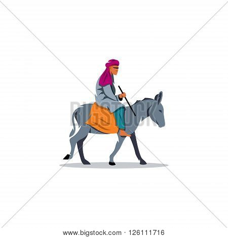 A man from the Middle East on a donkey on a white background.
