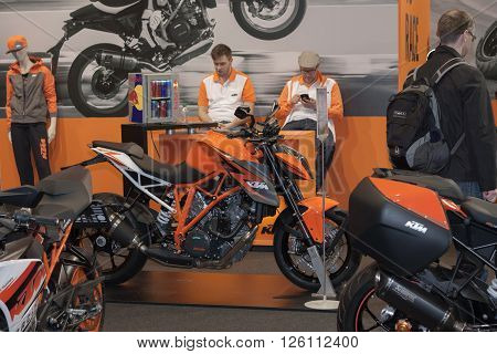 BRNO, CZECH REPUBLIC-MARCH 4,2016: Austria motorcycle KTM Super Duke R 1290 at International Fair for Motorcycles on March 4,2016 in Brno in Czech Republic