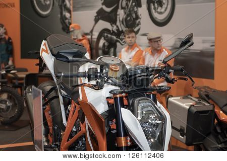 BRNO, CZECH REPUBLIC-MARCH 4,2016: Austria motorcycle KTM at International Fair for Motorcycles on March 4,2016 in Brno in Czech Republic