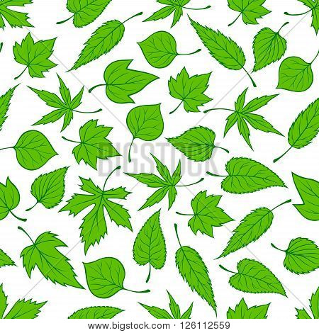 Decorative seamless spring nature pattern with ornament of sunny green young tree leaves randomly scattered over white background. May be used as retro wallpaper, backdrop fills, fabric design