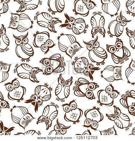 Cute brown owls seamless pattern with outline silhouettes of funny forest birds with ornamental feathering and amazed look. Use as nature background, retro wallpaper design