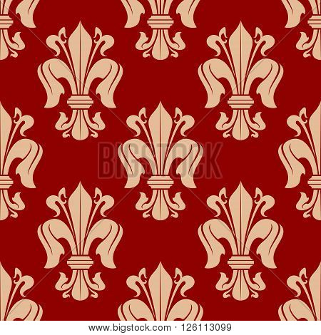 Bright red seamless fleur-de-lis background with floral pattern of victorian heraldic lilies. Luxury wallpaper, vintage interior accessories design usage