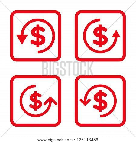 Refund vector icon. Image style is a flat icon symbol inside a square rounded frame, red color, white background.