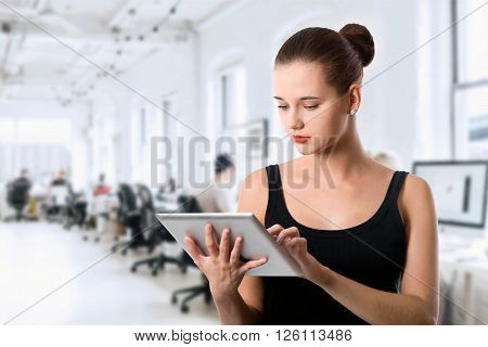 Student Girl With Tablet Computer