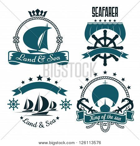 Romantic sailing ships blue symbols for marine sport or yacht club design, supplemented by helms, anchors, sails, ropes and ribbon banners with stars and crown