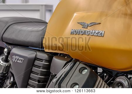 BRNO, CZECH REPUBLIC-MARCH 4,2016: Close up of inscription on fuel tank of motorcycle Moto Guzzi V7 on International Fair for Motorcycles on March 4,2016 in Brno in Czech Republic