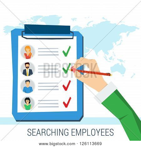 Vector concept employee search. List candidates to work with photos and skills description. Hand with pen picking business person with list of requirements. Flat style. Web infographics
