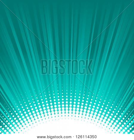 Abstract shine turquoise background with rays and dots