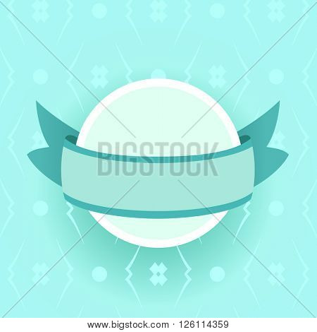 Abstract turquoise frame with a ribbon