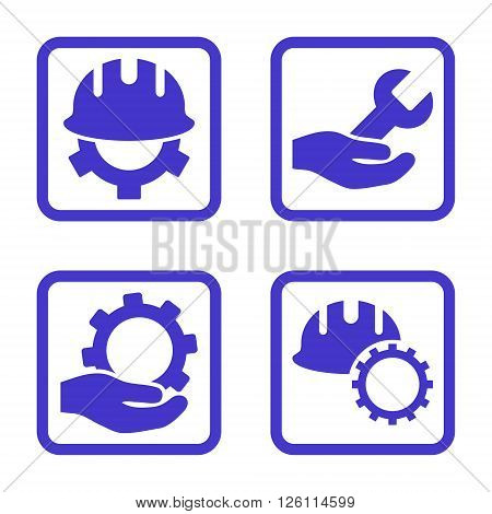 Development vector icon. Image style is a flat icon symbol inside a square rounded frame, violet color, white background.