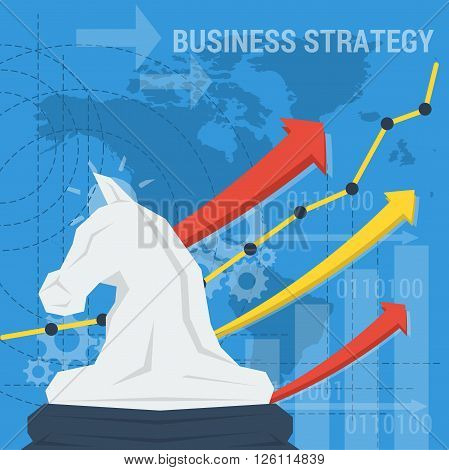 Vector business square background. Concept strategy of business improvement successful management careful planning. Chess knight with arrows up and abstract lines head silhouette. Flat style