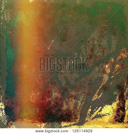Vintage background, antique grunge backdrop or scratched texture with different color patterns: yellow (beige); brown; gray; red (orange); green; blue