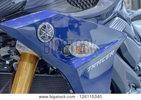 BRNO, CZECH REPUBLIC-MARCH 4,2016: Close up of emblem on motorcycle Yamaha MT 09 on International Fair for Motorcycles on March 4,2016 in Brno in Czech Republic