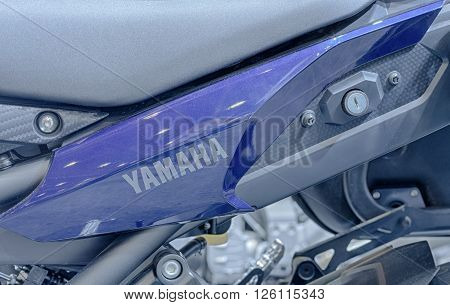 BRNO, CZECH REPUBLIC-MARCH 4,2016: Close up of inscription on motorcycle Yamaha MT 09 at International Fair for Motorcycles on March 4,2016 in Brno in Czech Republic