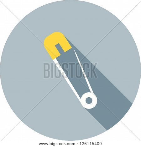 Safety, pin, silver icon vector image. Can also be used for baby. Suitable for web apps, mobile apps and print media.