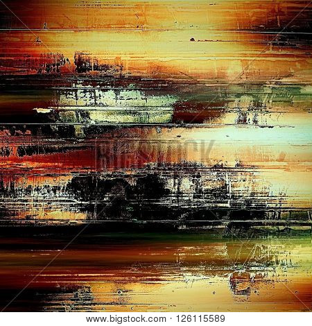 Grunge background or texture with vintage frame design and different color patterns: yellow (beige); brown; red (orange); green; black; white