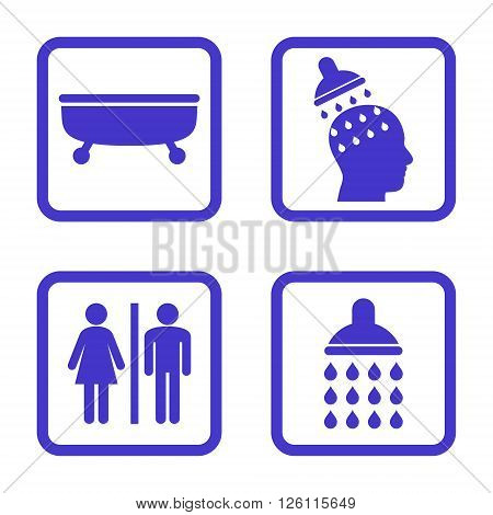 Sanitary vector icon. Image style is a flat icon symbol inside a square rounded frame, violet color, white background.