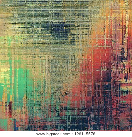 Old grungy stylish composition, vintage texture with different color patterns: yellow (beige); brown; red (orange); green; blue; pink