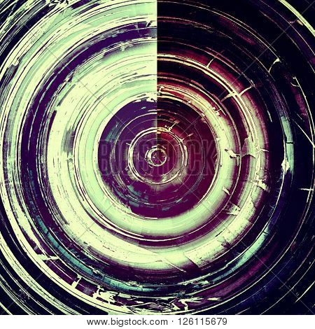 Spherical aged grunge graphic background with shabby texture in vintage style. With different color patterns: blue; purple (violet); pink; black; white; cyan