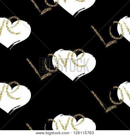 Glitter scandinavian black romantic brushed heart ornament. Vector gold love seamless pattern collection. Modern glam shimmer details stylish texture.