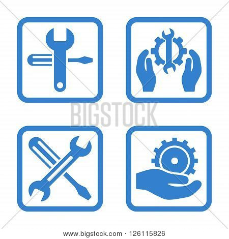 Service Tools vector icon. Image style is a flat icon symbol inside a square rounded frame, cobalt color, white background.