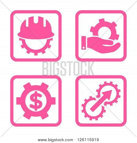 Development vector icon. Image style is a flat icon symbol inside a square rounded frame, pink color, white background.