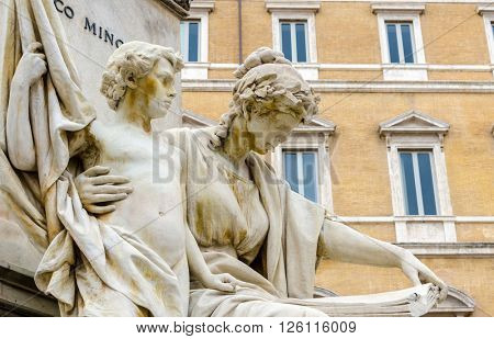 Fragment of statue at Fontana del Moro in Piazza Navona, Famous square filled with fountains in the heart of Rome, capital of Italy