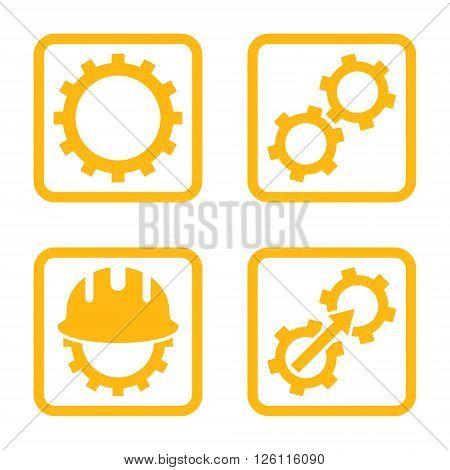 Development vector icon. Image style is a flat icon symbol inside a square rounded frame, yellow color, white background.
