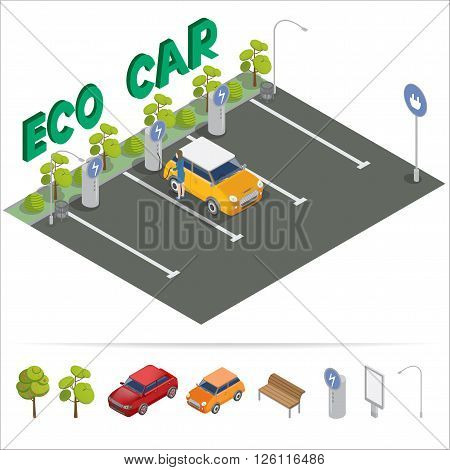 Eco Car Isometric Transportation. Charging Station. Vector illustration