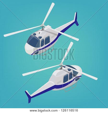 Isometric Helicopter. Transportation Mode Aircraft Vehicle. Vector illustration