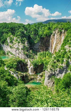 Beautiful view at Plitvice lakes national park, Croatia.