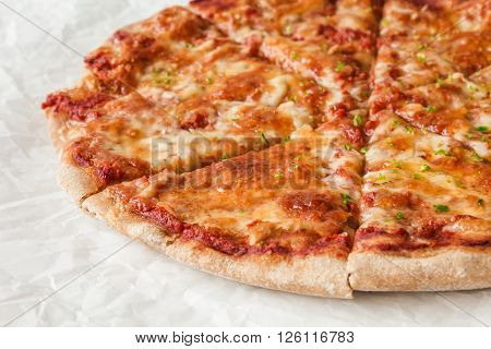 Traditional italian pizza Margherita - close up image.