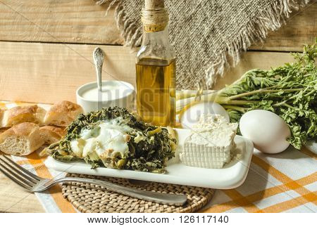 Edible spring grass with eggs and sour milk