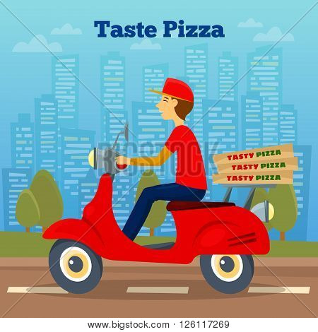 Pizza Courier on Scooter. Pizza Delivery Vector illustration