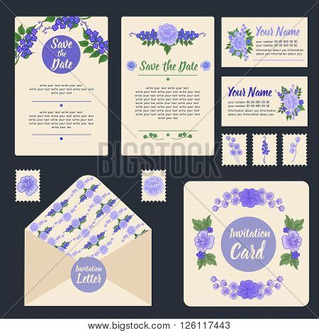 Wedding Invitation Stationary Set with Floral Decoration. Vector illustration